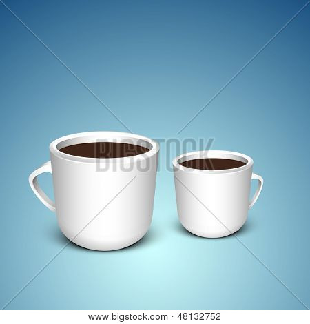 Coffee cups on blue background.