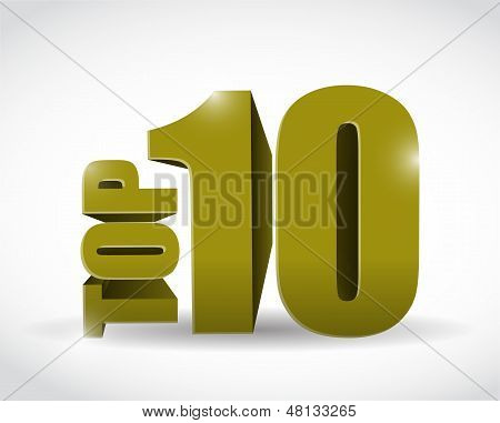 Gold Top Ten Sign Illustration Design