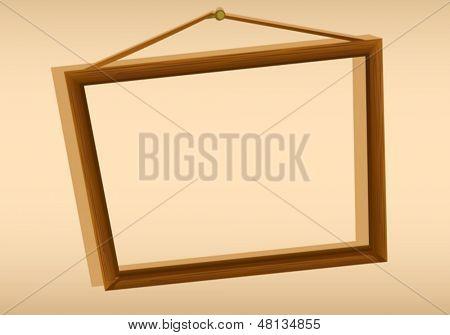 Illustration of a wooden hanging frame