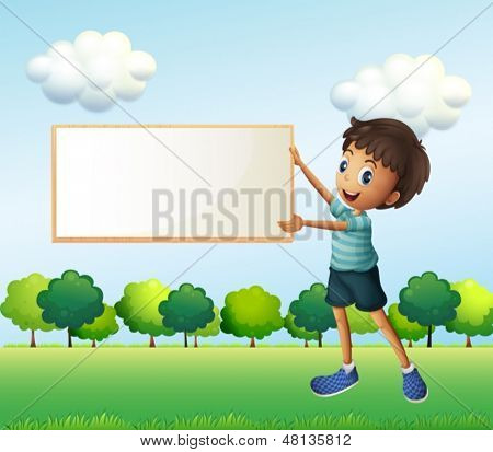 Illustration of a boy holding an empty framed board