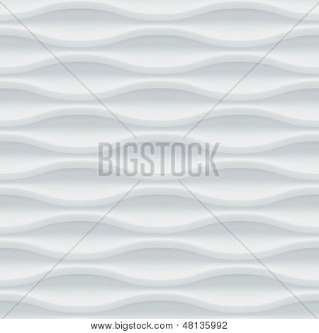 White seamless texture. Wavy background. Interior wall decoration. 3D Vector interior wall panel pattern. Modern wavy white design wall.