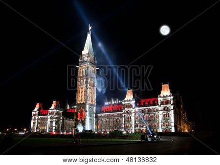 The Illumination Of The Canadian House Of Parliament At Night
