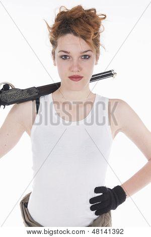 Young Woman Having Rifle