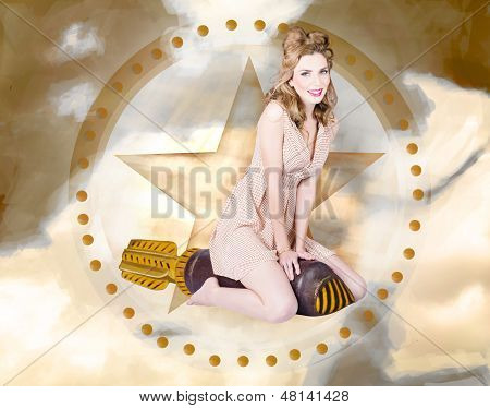 Antique Pin-up Girl On Missile. Bombshell Blond