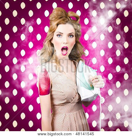 Funny Pin-up Woman Pressing Clothes. Dry Cleaning