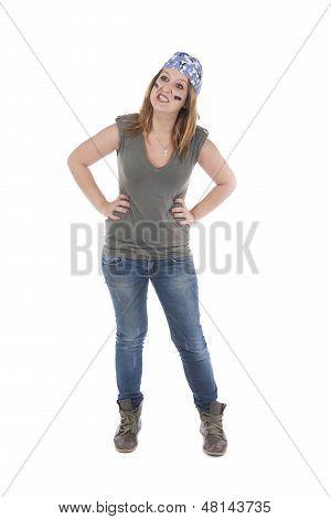 Girl In Fierce Combative Attitude