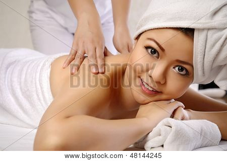 Asian Woman Get Massage On The Spa