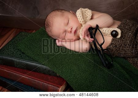 Newborn Baby Boy With Reading Glasses