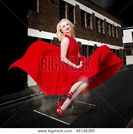 Blond Marilyn Monroe Pinup Girl In Retro Dress