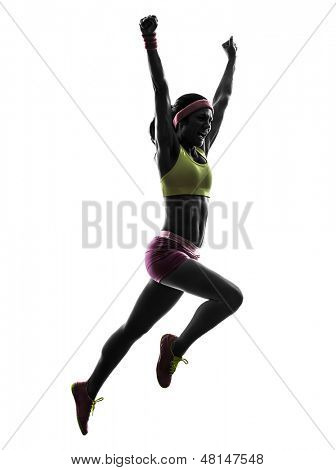 one caucasian woman runner running jumping  shouting in silhouette on white background