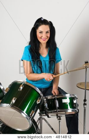 Beauty Woman Drummer