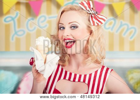 Attractive Retro Pinup Girl Eating Ice Cream Cone
