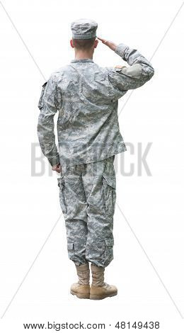 Us Army Soldier In Saluting Position Isolated On White Background