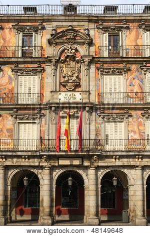 Madrid, Plaza Mayor, Facade Of Casa De La Panaderia, Spain