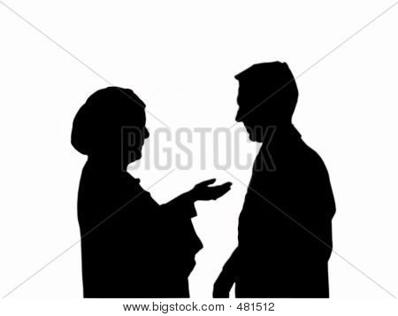 Woman And Man Talking Silhouettes