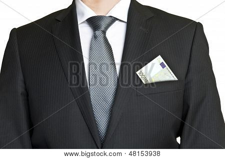 Businessman In Suit And Tie With 100 Euro Banknote In Pcket