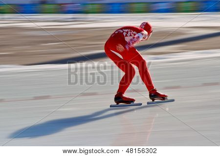 INNSBRUCK, AUSTRIA - JANUARY 16 Vasiliy Pudushkin (Russia) places 8th in the men's 1500 speed skating event on January 16, 2012 in Innsbruck, Austria.
