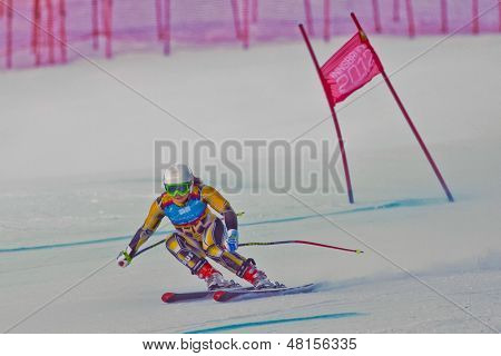 PATSCHERKOFEL, AUSTRIA - JANUARY 15 Greta Small (Australia) places 11th in the Super-G of the Ladies' Super Combined on January 15, 2012 in Patscherkofel, Austria.