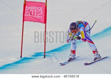 PATSCHERKOFEL, AUSTRIA - JANUARY 15 Ekaterina Tkachenko (Russia) places 9th in the Super-G of the Ladies' Super Combined on January 15, 2012 in Patscherkofel, Austria.