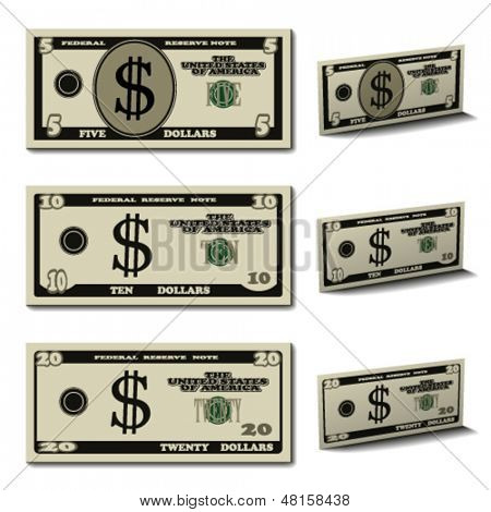 vector five ten twenty dollar banknotes