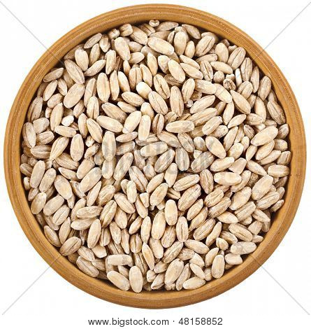 Pearl barley grains heap in bowl top view surface close up isolated on white background