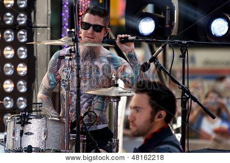 NEW YORK-JULY 19: Drummer Andy Hurley of Fall Out Boy performs on NBC's Today Show at Rockefeller Plaza on July 19, 2013 in New York City.