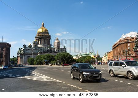 ST.PETERSBURG, RUSSIA - JUN 22: Saint Isaac's Cathedral, Jun 22, 2013, SPb, Russia. Is the largest Russian cathedral in the city, took 40 years to construct, from 1818 to 1858.