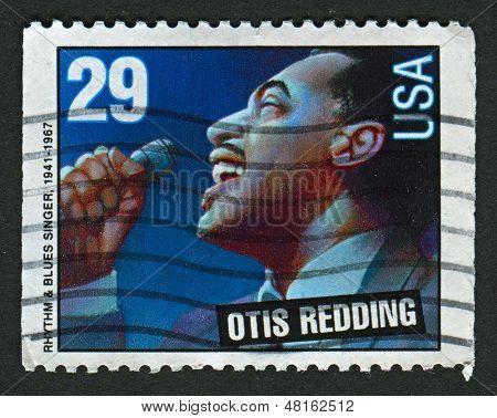 EUA - cerca de 1993: Um selo imprimido nos EUA mostra imagem de Ray o Otis Redding, Jr. (9 de setembro de 1941