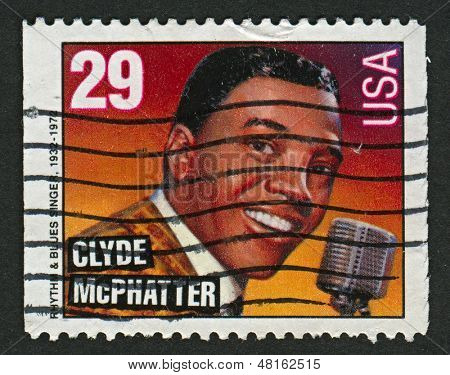 USA - CIRCA 1993: A stamp printed in USA shows image of the Clyde Lensley McPhatter was an American R&B singer, perhaps the most widely imitated R&B singer of the 1950s and 1960s,  circa 1993.