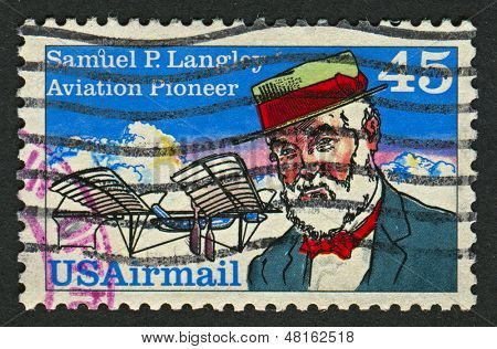 USA - CIRCA 1991: A stamp printed in USA shows image of the Samuel Pierpont Langley was an American astronomer, physicist, inventor of the bolometer and pioneer of aviation, circa 1991.