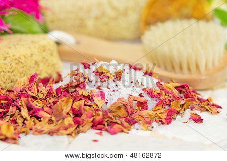 Bath Salts And Rose Petals