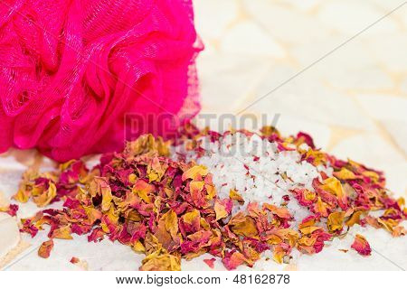 Scented Rose Petals And Bath Salts In A Spa