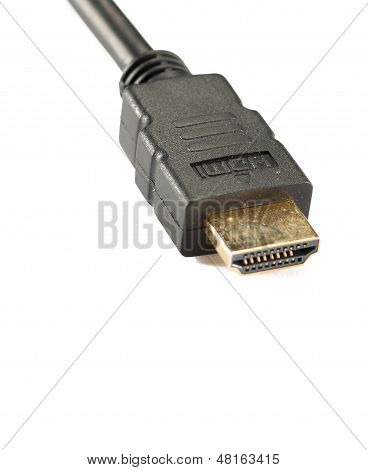 Schuss des Hdmi-Kabels, Isolated On White Background zu schließen
