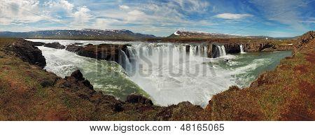 Panoramic View - Godafoss Waterfalls In Iceland