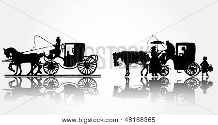 Old horse coach ready for drive