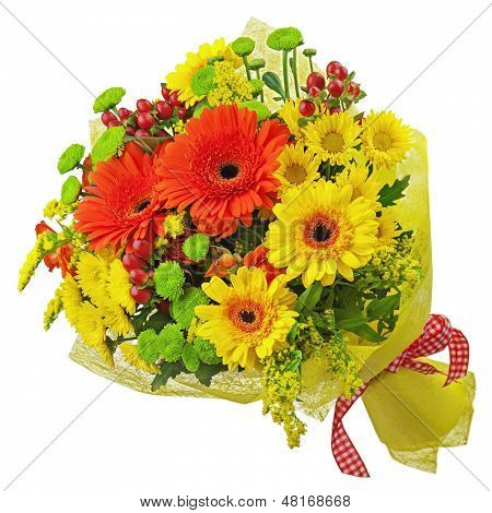 Colorful Bouquet From Gerbera Flowers Isolated On White Background.