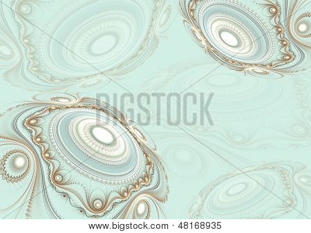 Abstract fractal background with decoration spheres    marine color