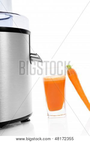 Juicer And Fresh Carrot Juice Isolated.