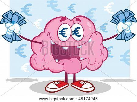 Euro Money Loving Brain Character