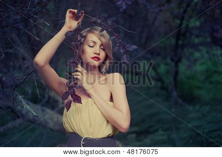 Beautiful Lady In Fairy Forest