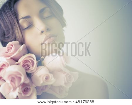 Charming Lady With Roses