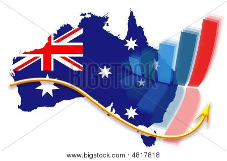 Australia Flag Map And Graph Chart