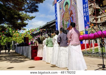 GYEONGIU KOREA MAY 17: Korean people are celebrating Buddhas Birthday with gentle and serene mood in front of Buddha shrine at the Bulguksa Temple on may 17 2013, Gyeongiu, Korea.
