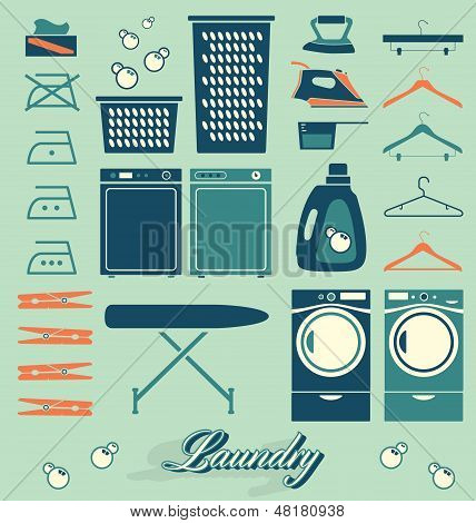 Vector Set: Retro Laundry Room Symbols and Icons