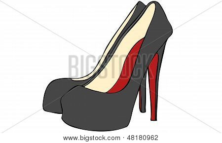 Isolated Vector Sketch of Women's High Heel Stiletto Shoes