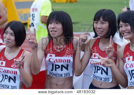 DONETSK, UKRAINE - JULY 14: Team Japan win bronze in the final round of medley relay during 8th IAAF World Youth Championships in Donetsk, Ukraine on July 14, 2013