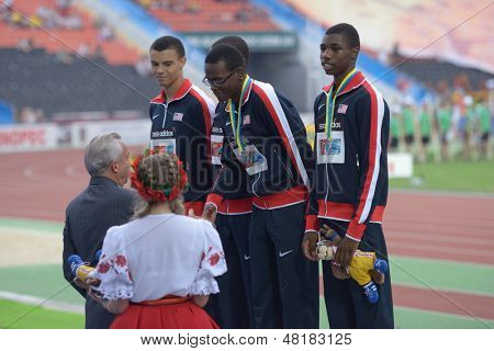 DONETSK, UKRAINE - JULY 14: Team USA win silver in the medley relay during 8th IAAF World Youth Championships in Donetsk, Ukraine on July 14, 2013. Left to right: McLaughlin, Jones, Clark, Lyles