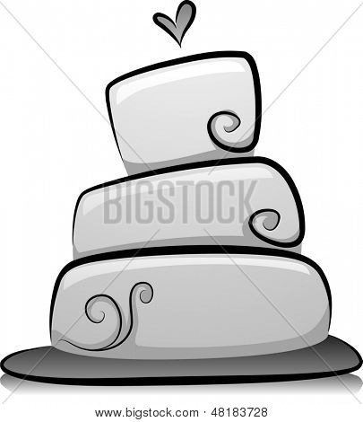 Illustration of Wedding Cake in Black and White
