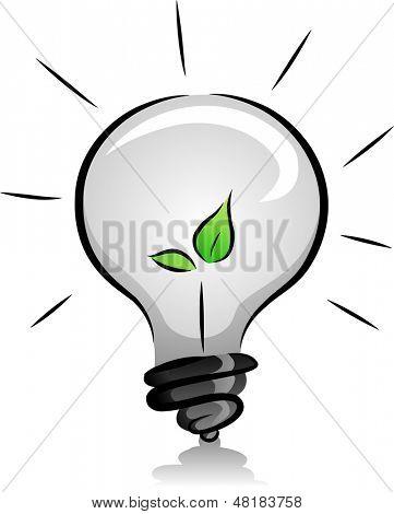 Ilustração de lâmpada Eco-Friendly com mudas em preto e branco, com sotaque de cor verde