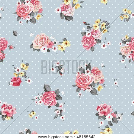 Beautiful Vector floral seamless pattern with blooming flowers. Elegance wallpaper with of pink roses